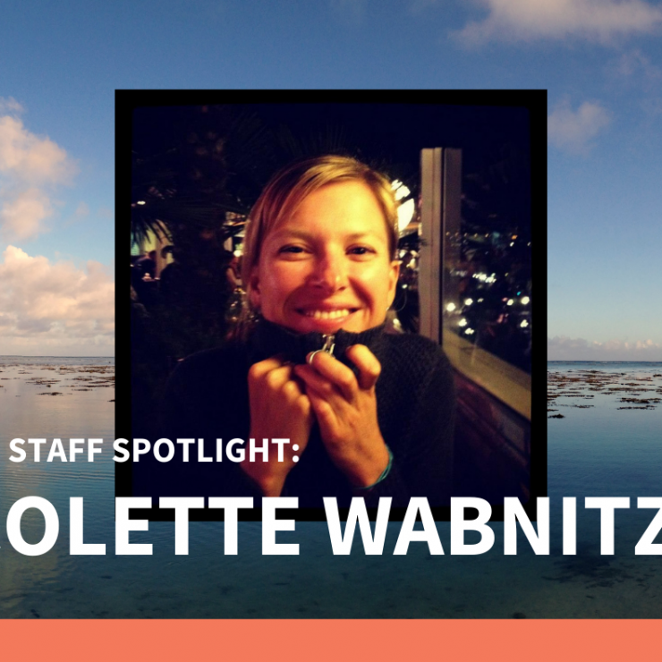 Photo of Colette Wabnitz smiling. Background photo sunset over the ocean.